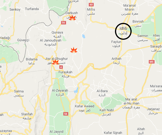 Areas where Russian and Syrian airstrikes were carried out (Google Maps).