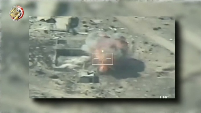 Airstrike against an ISIS hiding place.