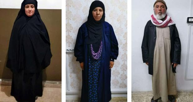 The three detainees (from right to left): Rasmiya Awad's husband, Rasmiya Awad (sister of former ISIS leader Abu Bakr al-Baghdadi) and Rasamiya Awad's daughter-in-law (Karwan Faidhi Twitter account , November 5, 2019)