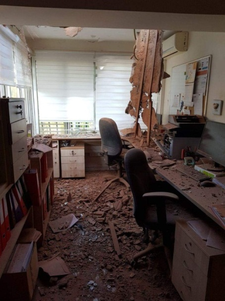 A house in the southern Israeli city of Sderot that took a direct rocket hit.