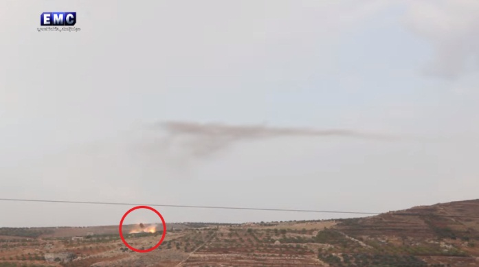 Air-to-surface missile launched by a Russian fighter jet at Kafrnubl, south of Idlib, hitting its target (Edlib Media Center – EMC, November 9, 2019).