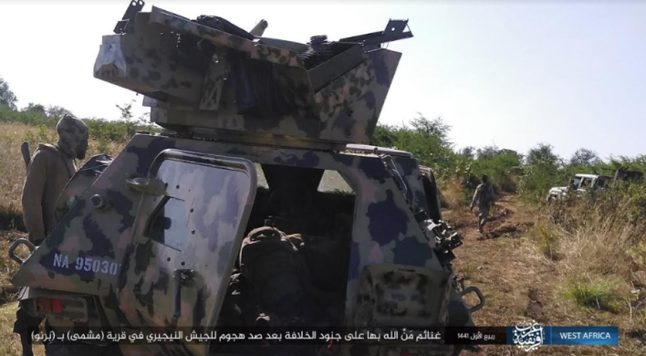 Nigerian army vehicles seized by ISIS operatives (Telegram, November 8, 2019)
