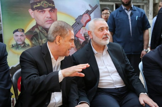 Isma'il Haniyeh in the mourning tent erected for Khaled Faraj, one of the PIJ military wing's operatives killed in the recent round of escalation (Hamas website, November 17, 2019).