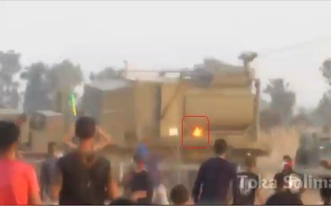 Picture from a video documenting a Molotov cocktail catching fire on an IDF crowd-dispersal vehicle in eastern Rafah (Facebook page of Toka Soliman, November 8, 2019).