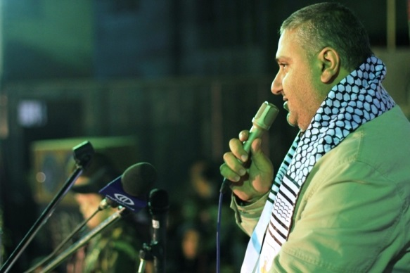 Taysir al-Jaabari gives a speech at a PIJ and Jerusalem Brigades memorial ceremony for his brother, Yasir Mahmoud al-Jaabari, a senior operative in the Jerusalem Brigades' Gaza brigade, who died of a stroke on January 20, 2014 (Jerusalem Brigades website, February 21, 2014).
