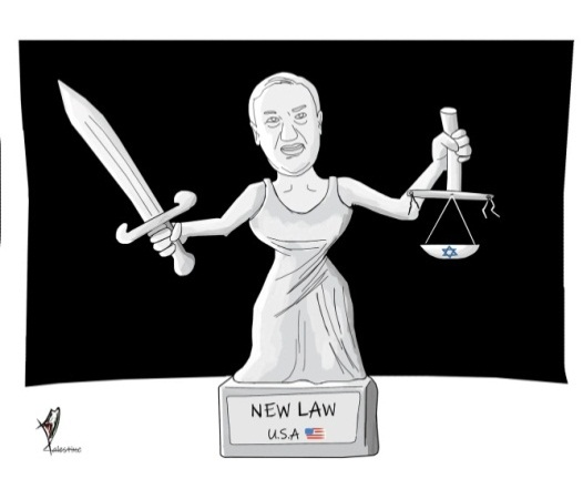 A cartoon in response to the decision of the American secretary of state's declaration regarding the settlements (Isma'il al-Bazam's Facebook page, November 19, 2019).