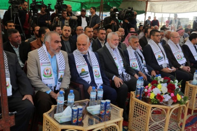 Laying the cornerstone of the new hospital in Rafah with the participation of the Isma'il Haniyeh, head of Hamas' political bureau (Hamas website, November 23, 2019).