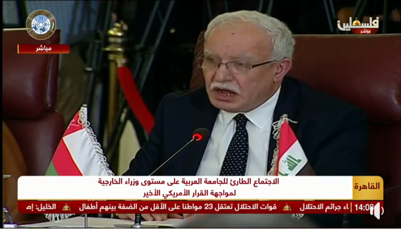 Palestinian Foreign Minister Riyad al-Maliki speaking at the meeting (PA foreign ministry Facebook page, November 25, 2019).