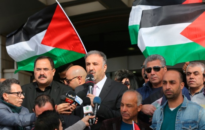 Demonstration in front of the offices of the General Authority of Palestinian Radio and Television in Ramallah (Wafa, November 21, 2019).