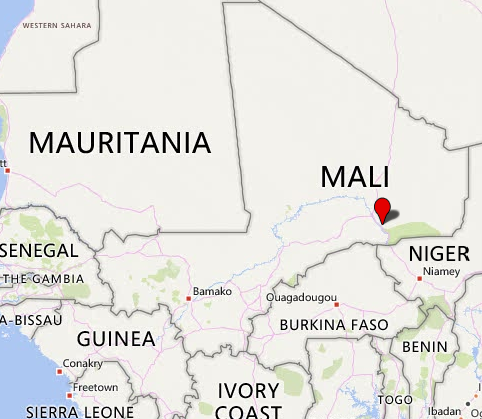 The area of Tabankort, near the border with Niger, where ISIS operatives attacked a Mali army convoy (Bing Maps)