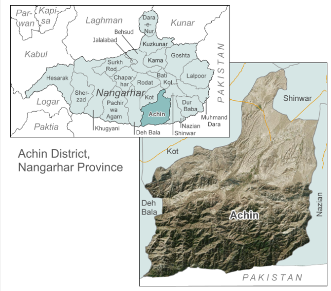 The mountainous Achin region where ISIS operatives have been repelled (Afghanistan Analysis Network, March 25, 2019)