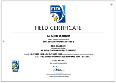 Field Certificate of the international soccer federation FIFA for the stadium of the Al-Ahed soccer team. The certificate is signed by Sepp Blatter[1], FIFA's eighth president (website of the Jordan-based Mondo, the company that built Al-Ahed's home stadium).