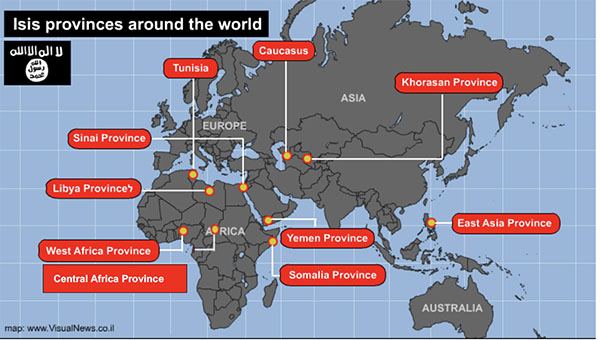 The activity of ISIS's provinces in Africa and Asia
