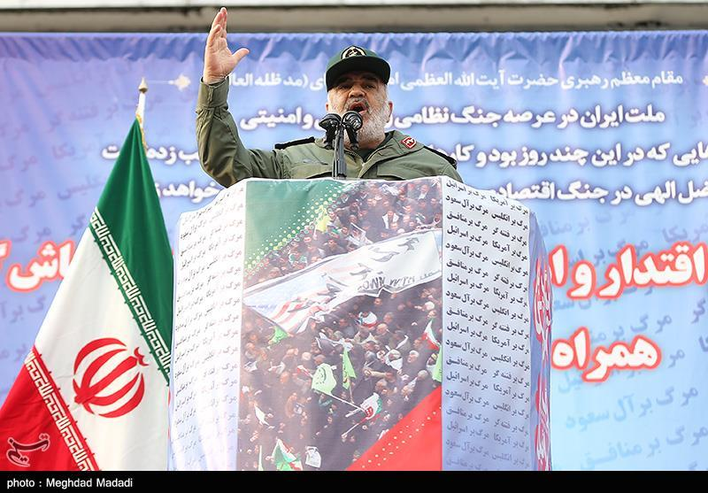 The Commander of the IRGC, Hossein Salami, during the rally in Tehran (Tasnim, November 25, 2019)