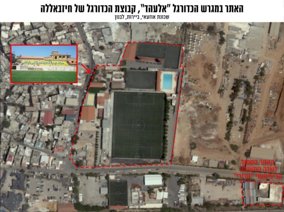 Hezbollah's site at the Al-Ahed team's soccer stadium, near Beirut's International Airport (IDF Spokesperson's Unit, September 27, 2018)