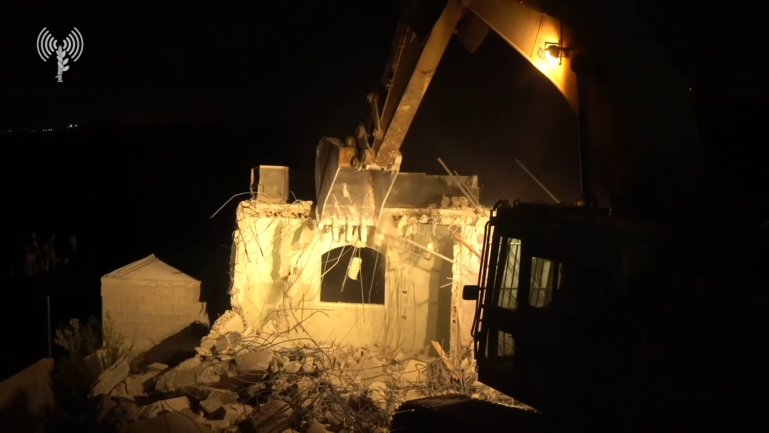 IDF security forces raze the houses of four terrorists in Bayt Kahil (IDF spokesman, November 28, 2019).