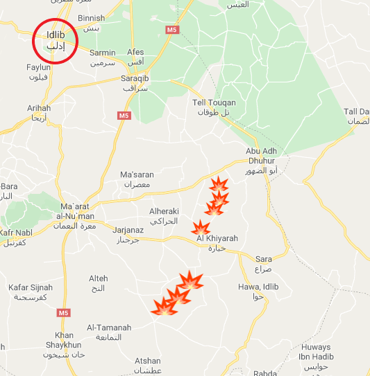 Top: The four villages which the rebel organizations unsuccessfully attempted to take over from the Syrian army. Bottom: The three villages in the Mushayrafa area which the rebel organizations unsuccessfully attempted to retake (Google Maps)