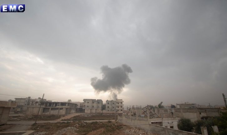 Airstrike in the village of Saraqib, southeast of Idlib (Edlib Media Center – EMC, December 1, 2019)