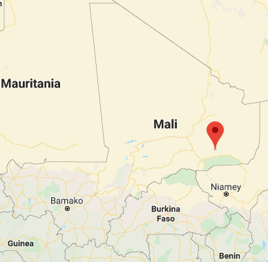 The area of Ménaka in southwestern Mali, where ISIS's ambush was set up (Google Maps)