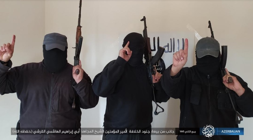 Pledge of allegiance of three operatives of ISIS's Azerbaijan Province to ISIS leader Abu Ibrahim al-Hashimi al-Qurashi (Telegram, November 29, 2019)