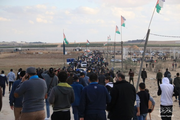 Palestinian demonstrators in the eastern part of Gaza City (Facebook page of the Malka return camp, December 6, 2019).