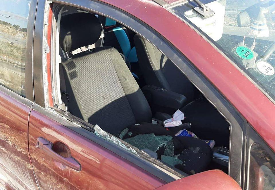 Israeli vehicle damaged by stones thrown by Palestinians at the Adoraim Junction (south of Hebron) (Mt. Hebron spokesman's unit, December 4, 2019).