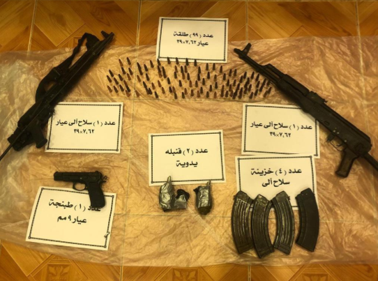 "Weapons and ammunition found in the possession of ""terrorist"" operatives (i.e., ISIS operatives) killed by Egyptian police in the Jalbana area in the northern Sinai Peninsula (Al-Youm al-Sabea, December 5, 2019)"