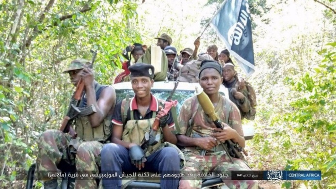 ISIS operatives after attacking the Mozambican army camp