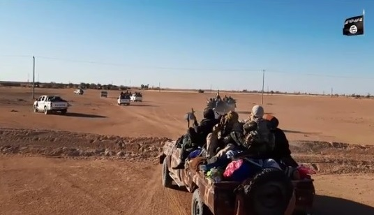 ISIS operatives leaving the town of Ghadwa and driving into the desert on SUVs (Akhbar al-Muslimeen, December 4, 2019)