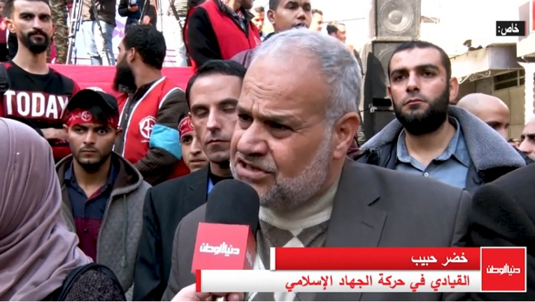 Senior PIJ figure Khadr Habib giving an interview in Gaza (Dunia al-Watan channel, December 7, 2019)