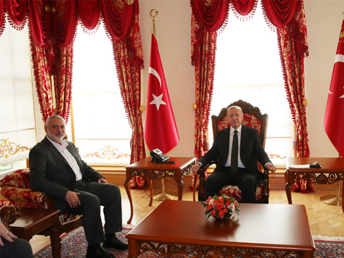 Isma'il Haniyeh meets with Turkish President Erdogan (Website of the Turkish president's office, December 14, 2019).