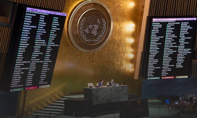 The vote in the UN General Assembly (UNRWA website, December 16, 2019).