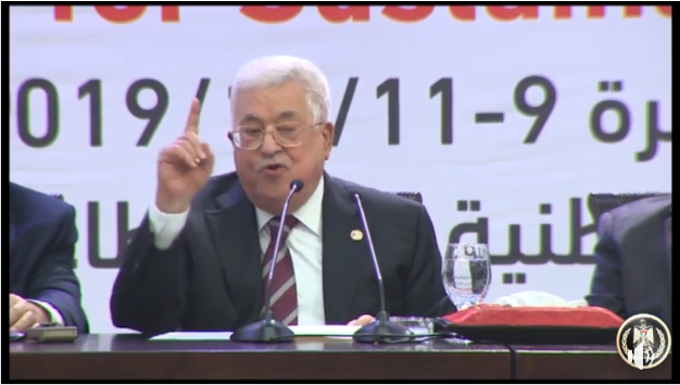 Mahmoud Abbas speaking at the conference in Ramallah (Mahmoud Abbas' Facebook page, December 11, 2019).