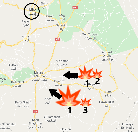 Syrian army offensive: The areas taken over by the Syrian army in the offensive that started on December 20, 2019 (1); the four villages taken over by the Syrian army on December 1, 2019 (2); the three villages in the area of Mushayrafa, taken over by the Syrian army on November 24, 2019 (3) (Google Maps)