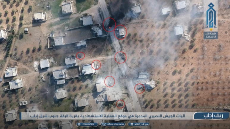 Syrian army vehicles (marked by red circles in the original) which were destroyed in the car bomb explosion (Ibaa, December 21, 2019)