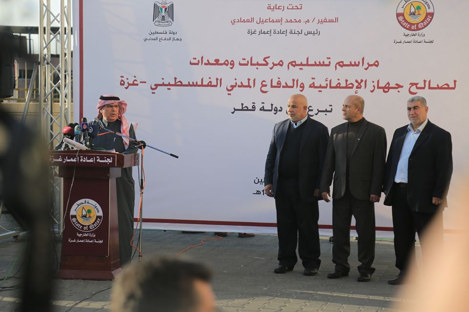 Mohammed al-Emadi at the ceremony for the transferal of firefighting equipment from Qatar (Facebook page of the Qatari, December 18, 2019).