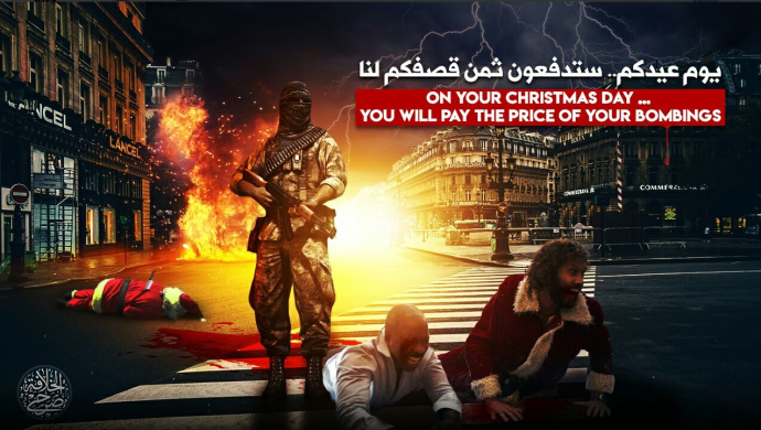 "Threats against Europe below the caption: ""On your Christmas Day you will pay the price of your bombings."" Paris is clearly identifiable in the background (Telegram, December 18, 2019)."