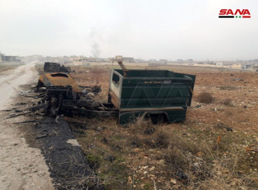 Vehicles destroyed by the Syrian army in Al-Tah, the stronghold of the Headquarters for the Liberation of Al-Sham, south of Maarat Nu'man (SANA, December 24, 2019)
