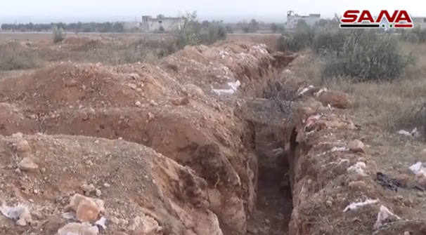 Trench of the rebel organizations in Umm Jalal, southeast of Maarat Nu'man. The Syrian army took control of the village on December 20, 2019 (SANA, December 23, 2019)