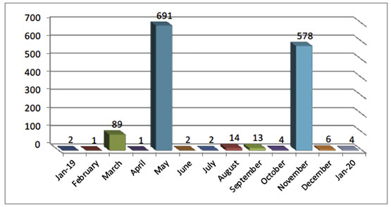 Monthly Distribution of Rocket and Mortar Shell Fire