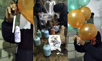Operatives of the Sons of al-Qoqa units prepare balloons for launching (Twitter account of the Popular Resistance Movement, January 19, 2020).