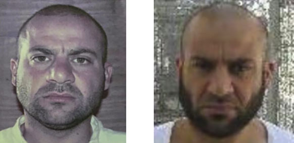 Two photos of Haji Abdullah, distributed by the US Department of State (right, August 21, 2019) and the Al-Jazeera Channel (left, October 28, 2019). The photos were probably taken in Camp Bucca, the American detention facility in southern Iraq.