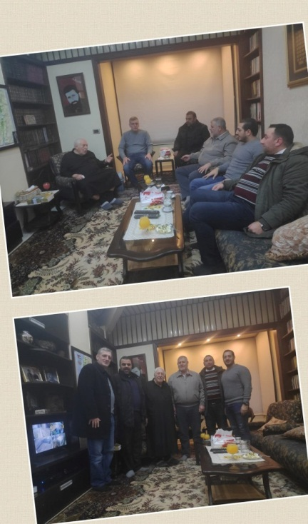 The al-Batash-Jibril meeting. In the upper picture, left to right: Ahmed Jibril, his son Khaled Ahmed Jibril, Isma'il al-Sandawi (Abu Muhajed) (PIJ figure responsible for the Syrian arena, Khaled al-Batash (Facebook page of Khaled Ahmed Jibril, December 28, 2019).