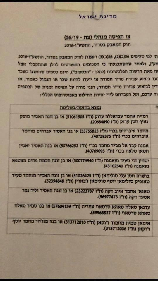 Confiscation order signed by Israeli Defense Minister Bennet (Facebook page of Israeli Defense Minister Naftali Bennet, December 25, 2019).