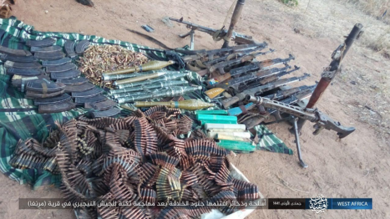 Weapons and ammunition seized by ISIS operatives in the attack (Telegram, December 28, 2019)