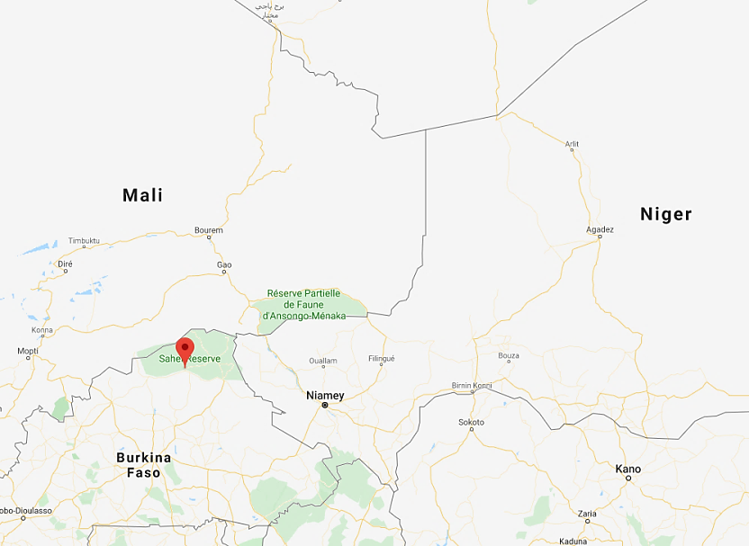 The site of the attack on a Burkina Faso army base (Google Maps)