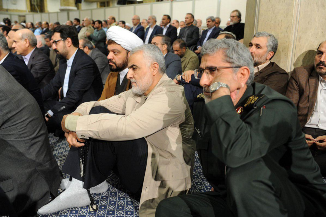 Esmail Qa'ani next to Qasem Soleimani )Fars, January 3, 2020).