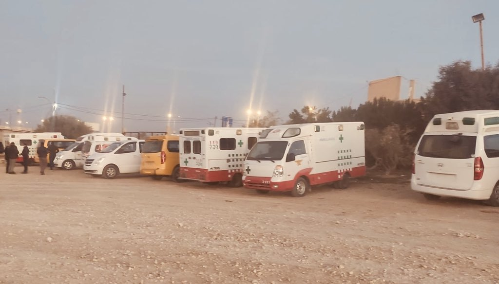 Ambulances which entered the Gaza Strip, part of the