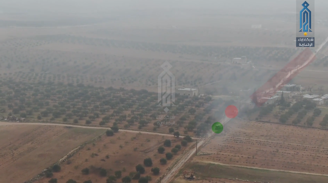 The car bomb (in green) approaching the Syrian troops (in red).
