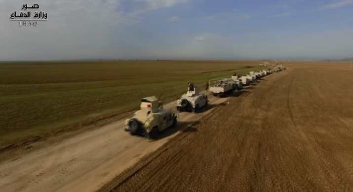 Convoy of the Iraqi security forces operating in the Nineveh Province in the third phase of Operation The Will to Win.